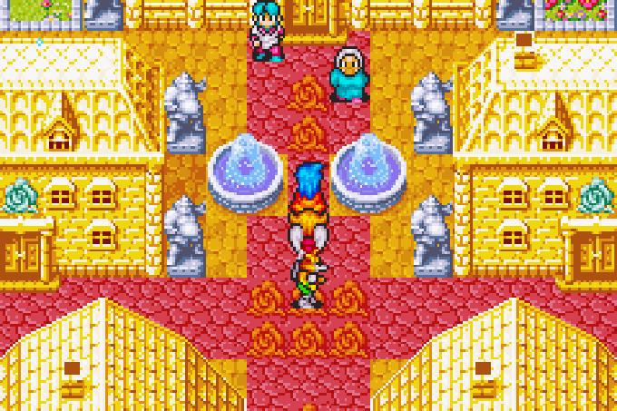 Die Stadt Auria besteht größtenteils aus Gold und ist von stetigem Sonnenschein gesegnet (Game Boy Advance)
