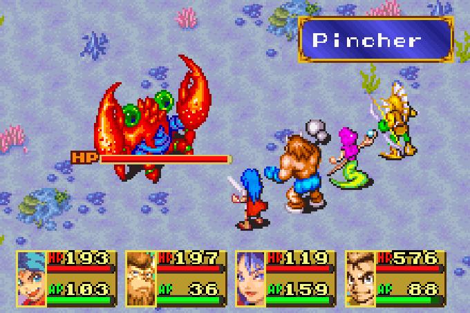 Selbst auf dem Meeresgrund ist man vor Monstern nicht sicher (Game Boy Advance)